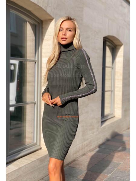 Модное облегающее платье гольф до колена