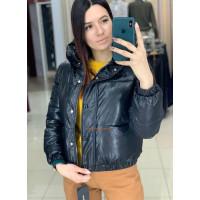 Дутая кожаная куртка женская