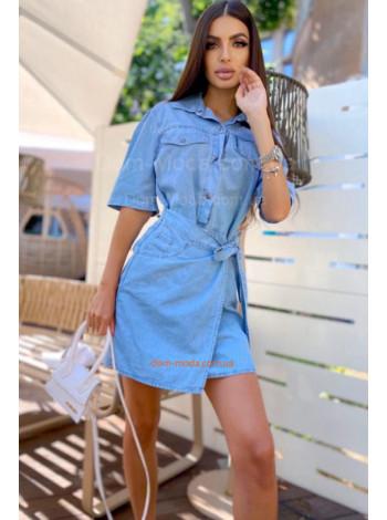 Стильне жіноче джинсове плаття з коротким рукавом