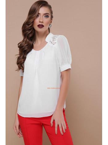"""Жіноча біла блузка з коротким рукавом """"Тесла"""""""