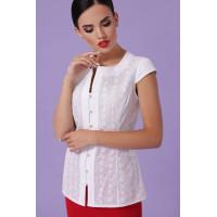"Стильная белая блуза с коротким рукавом ""Флори"""