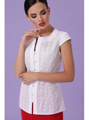 """Стильна біла блуза з коротким рукавом """"Флорі"""""""