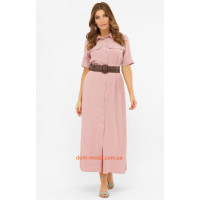 Модное длинное платье рубашка на пуговицах
