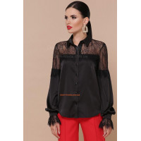 Женская шелковая блузка с кружевом