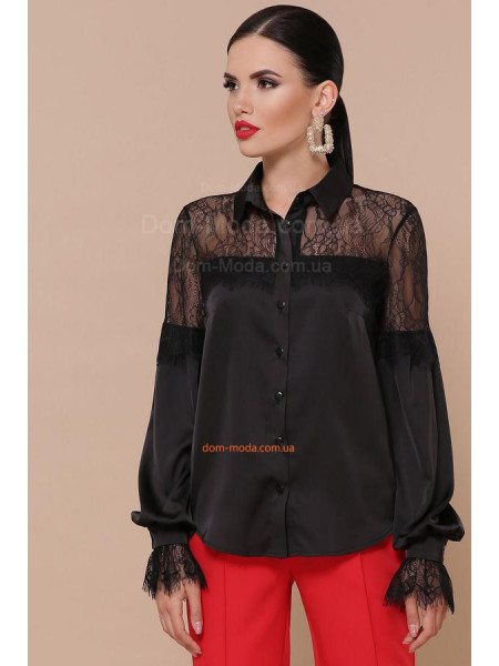 Жіноча шовкова блузка з мереживом