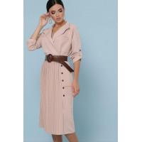 Женское однотонное платье рубашка с длинным рукавом