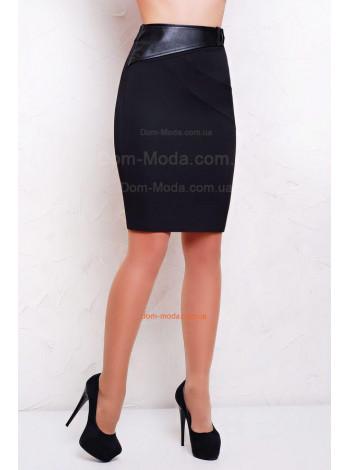 Классическая женская юбка карандаш до колена с кожаными вставками