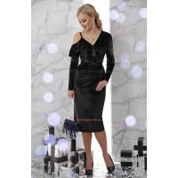 Вечірнє плаття велюрове з рукавом