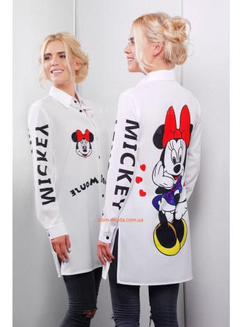 """Удлиненная белая рубашка с принтом """"Minnie Mouse"""""""