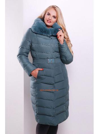 """Элегантная зимняя куртка пуховик большого размера """"Эни"""""""