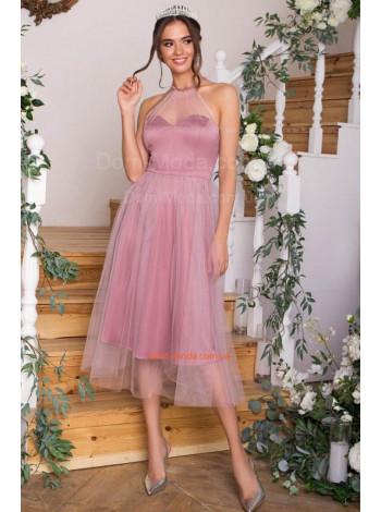 Вечернее платье миди с сеткой