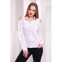 Женская белая рубашка с открытыми плечами