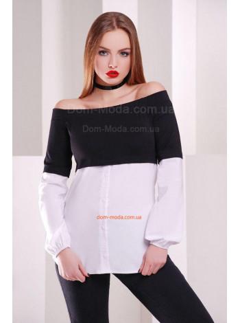 Женская кофта рубашка с открытыми плечами
