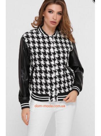 Женская куртка бомбер с кожаными рукавами
