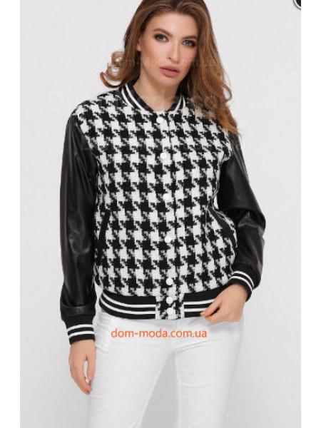 Жіноча куртка бомбер зі шкіряними рукавами