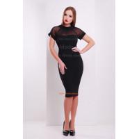 Женское черное платье с коротким рукавом