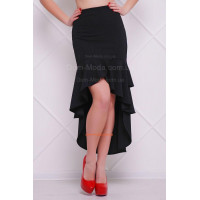 Женская удлиненная асимметрическая юбка с высокой талией