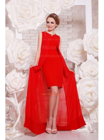 Вечернее короткое платье с длинной накидкой