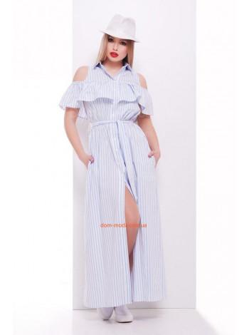 Летнее женское длинное платье рубашка в полоску