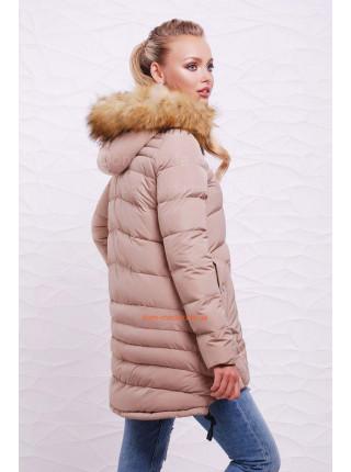Зимняя бежевая куртка женская