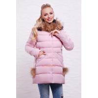 Модна зимова куртка з помпонами на кишенях