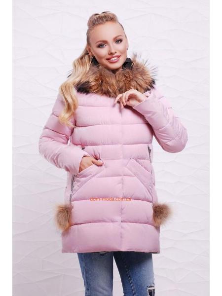 Модная зимняя куртка с помпонами на карманах