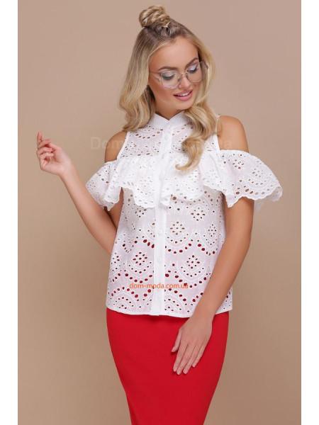Летняя белая блузка топ с воланом