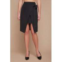 Женская асимметричная юбка с запахом в деловом стиле