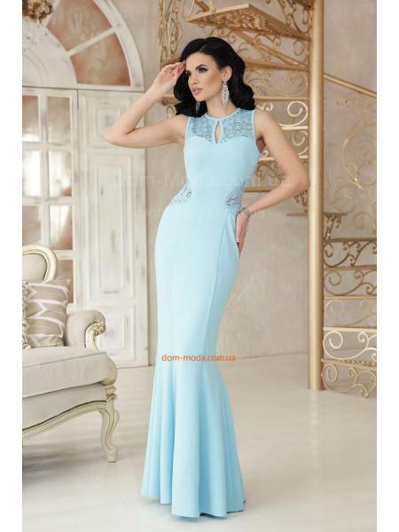 Вечернее длинное платье в пол русалка с открытой спиной