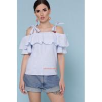 Женская модная блузка летняя с воланом