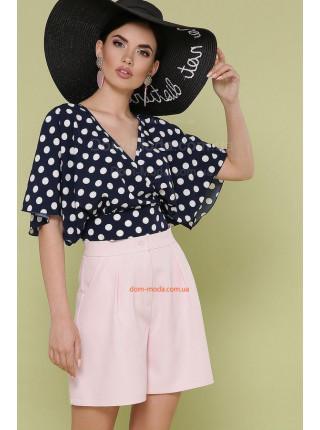 Летняя блузка в горошек с коротким широким рукавом