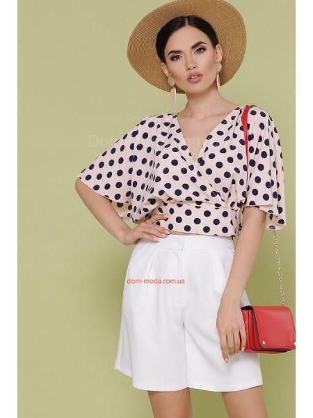 Літня блузка в горошок з коротким широким рукавом