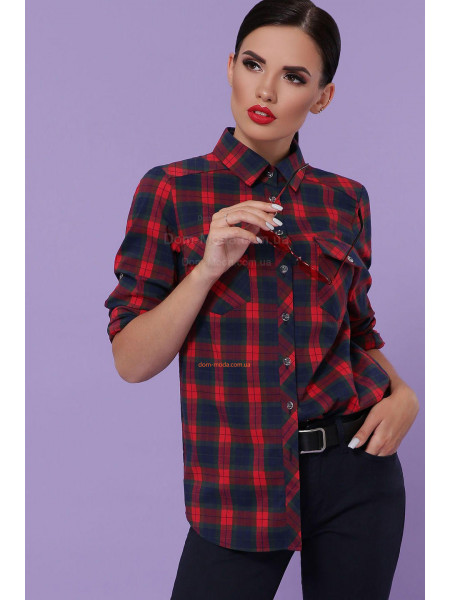 Женская клетчатая рубашка с длинным рукавом