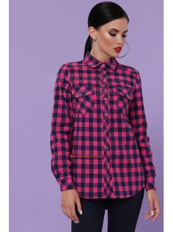 Женская модная малиновая рубашка в клетку