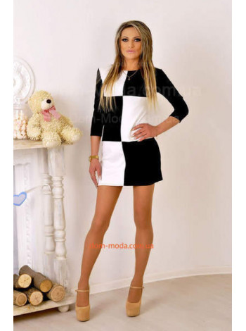 """Модное короткое платье с длинным рукавом """"Шахматка"""""""
