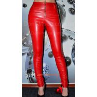 Женские кожаные леггинсы красные