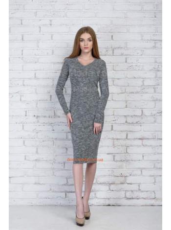 Серое женское платье миди