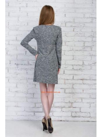 Плаття коротке із довгим рукавом сірого кольору