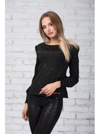 Модна чорна трикотажна блуза