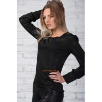 Модная черная трикотажная блуза