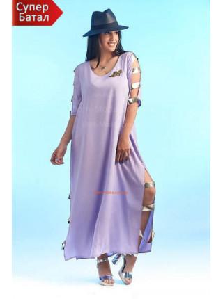 Летнее платье в пол с разрезами большой размер