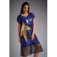 Летнее комбинированное платье для полных
