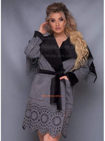 Женское пальто с запахом для полных
