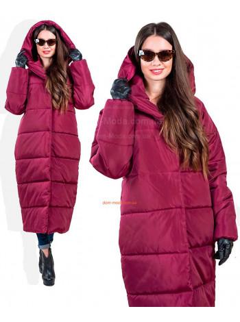 Подовжена стильна жіноча куртка пуховик з капюшоном