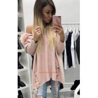 Женский свитер оверсайз с капюшоном