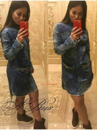 Подовжена джинсова рубашка для жінок