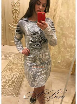 Джинсовое короткое платье со стразами