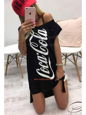 """Модное платье туника """"Coca cola"""" со шлейфом"""
