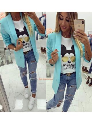 Модный женский пиджак без пуговиц