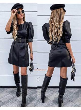 Черное кожаное мини платье